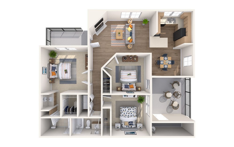 La Paz - 3 bedroom floorplan layout with 2 baths and 1180 square feet.