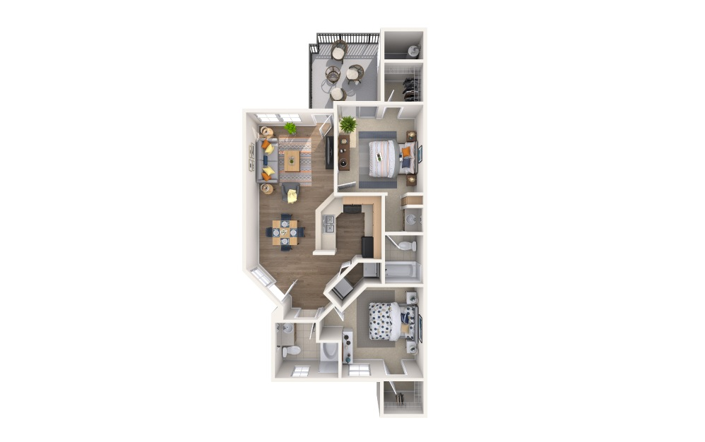 San Lucas - 2 bedroom floorplan layout with 2 baths and 1029 square feet.