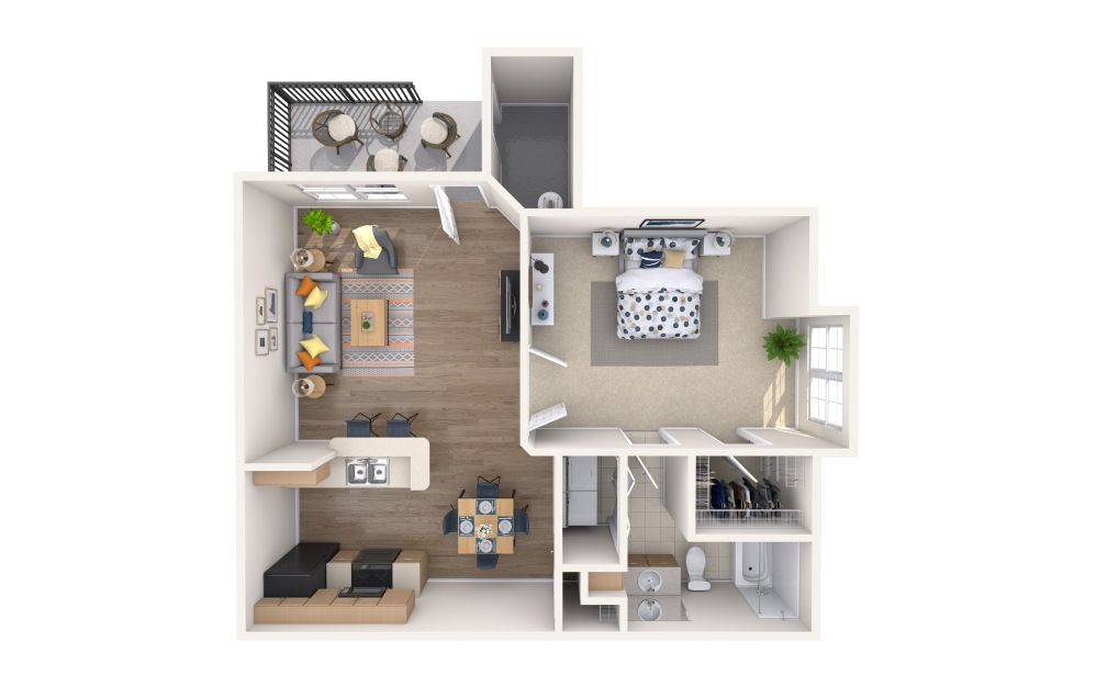Santiago - 1 bedroom floorplan layout with 1 bath and 759 square feet.